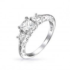 Bling Jewelry // Three Stone Princess Cut CZ Vintage 925 Silver Engagement Ring