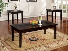 Furniture of America Vanta Contemporary 3-Piece Accent Tables Set, Espresso