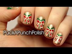 Holiday Bows and Wreaths Nail Art Tutorial - YouTube