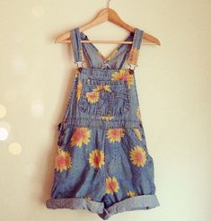 Vintage sunflower overalls
