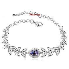 Silver Amethyst Teardrop Wedding Wheat Bracelet Made With Swarovski Crystal T44
