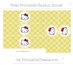 Free Straw Yellow Checker Pattern Hello Kitty Napkin Rings