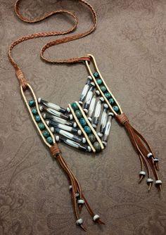 nice tribal breastplate necklace festival jewelry by SteampunkSmuggler Tribal Jewelry, Turquoise Jewelry, Beaded Jewelry, Handmade Jewelry, Dainty Jewelry, Jewlery, Vintage Jewelry, Leather Necklace, Leather Jewelry