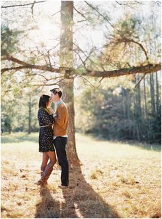 a fall engagement session with glowy light