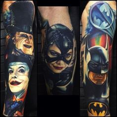 These incredible pieces were done by portrait specialist Nikko Hurtado. #InkedMagazine #Hero #villains #riddler #penguin #catwoman #batman #tattoos #tattoo #Inked #Ink
