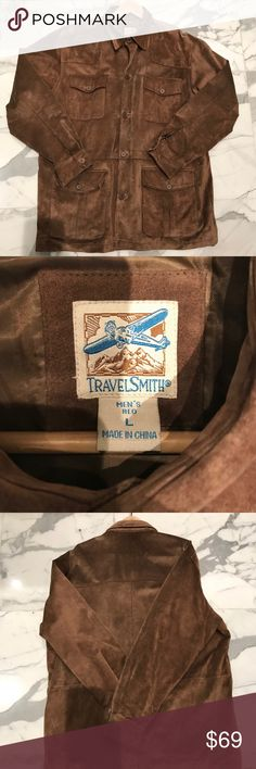 NEW LISTING  Men's Leather Jacket Great fall/winter jacket.  Plenty of pockets, both inside and out (please see please pictures).  Interior drawstring to customize waistline if desirable.  Sturdy, looks great. Smoke-free/pet-free. TravelSmith Jackets & Coats