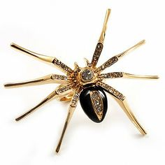 Gold Black Enamel Swarovski Crystal Spider Cocktail Ring - Size 7