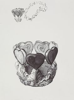 WILL COTTON // Crown Sketch, 2013, ink on paper, 24 x 17 inches. Courtesy of the artist and Mary Boone Gallery.