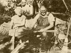 Lee and Lillie Ogle, making brooms. Late 1920s. Ogle's Broom Shop. Gatlinburg, TN.