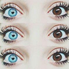 """""""heterochromia like my eyes. Pretty Eyes, Cool Eyes, Beautiful Eyes, Beautiful Things, Different Colored Eyes, Different Colors, Brown Eyes, Blue Eyes, Blue Brown"""