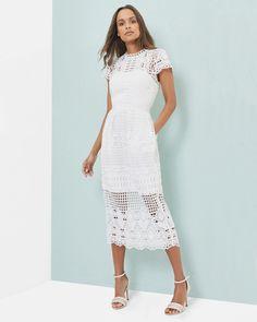 Scalloped lace tulip dress - White | Dresses | Ted Baker