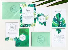 This listing is for a sample of our Tropical wedding invitations. This sample includes the main invitation card printed front and back and a response card, also printed front and back on our white felt (watercolor textured) paper. It also includes printed mint envelopes (A7 + A2). We will include samples of our paper stock options. Each image shows the front and back of the cards. SAMPLE COMES WATERMARKED.  This design uses beautiful hand-painted watercolor elements. If you like this sample…