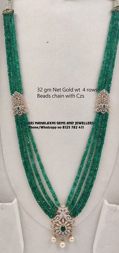 Feb 2020 - Emerald and ruby beads long necklace designs with CZ pendants indian beads necklace designs, emerald beads mala, ruby beads necklace Jewelry Design Earrings, Beaded Jewelry Designs, Gold Jewellery Design, Emerald Jewelry, Bead Necklace Designs, Gems Jewelry, Photo Jewelry, Gemstone Jewelry, Diamond Cross Necklaces