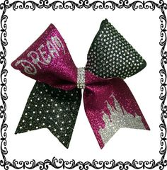 Dream or Believe Castle Ombre Rhinestone Cheer Bow