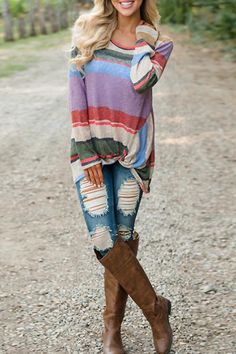 6b0bf87dfe New White Colorful Striped Print Irregular Knot Long Sleeve Casual Comfy  T-Shirt. POPPOLY