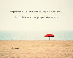 """Happiness is the settling of the soul into its most appropriate spot"" - nice quote, Aristotle!"