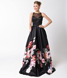 Black Sheer Illusion Floral Print Long Dress For Prom 2017