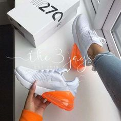 Nike Air Max 270 - White / Total Orange - shop your sneakers - Schuhe Dr Shoes, Nike Air Shoes, Hype Shoes, Me Too Shoes, Buy Nike Shoes, Shoes Heels, Heels Outfits, Flat Shoes, Adidas Shoes