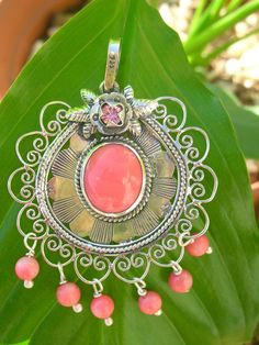 Pink Flower Filigree Pendant by MexicArt on Etsy, $130.00