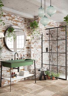10 tips for solving common plumbing problems in a bathroom Brick Bathroom, Wooden Bathroom, Boho Bathroom, Bathroom Trends, Bathroom Styling, Bathroom Interior Design, Industrial Bathroom, Round Mirror In Bathroom, Interior Ideas