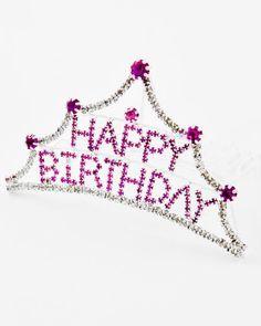 TIARA - PINK RHINESTONE HAPPY BIRTHDAY TIARA