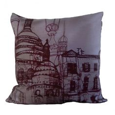 Streets of Montmartre Burgundy Cushion from Helena Carrington | Made By Helena Carrington | £45.00 | BOUF
