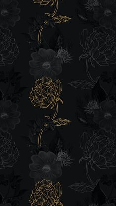 Download premium image of Hand drawn black and gold flower pattern on a dark background by Benjamas about gold flower and leaves, black gold instagram story background, Leaves wallpaper black and gold flower, peonies pattern, and black flower background 2405436