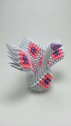 3d Origami Swan Pink and Purple Diamond Pattern by WhimsicalFolds