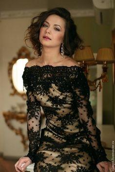 Купить Кружевное платье в пол - черный, кружево, кружевное платье, вечернее платье, праздничное платье