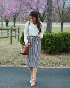 "3,887 Likes, 77 Comments - Courtney Toliver (@courtneytoliver) on Instagram: ""I absolutely love this striped pencil skirt! It has a tie ""paper bag"" style waist. This outfit is…"""