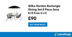 Wilko Garden Rectangle Dining Set 8 Piece Save £10 Free C+C, £90