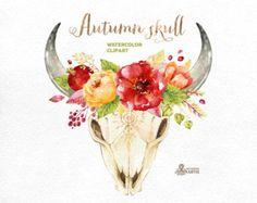 Skull & Flowers. Watercolor skulls with antlers от OctopusArtis