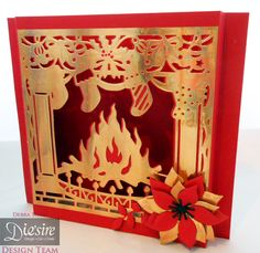 Debra Shaw - Christmas Fireside Create a card die - Collall Tacky glue - Collall All Purpose Glue - Stick it sheet - Red ,Gold and black card - Die'sire Poinsetta and leaf die - #crafterscompanion #Christmas