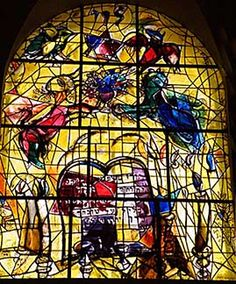 "Marc Chagall 12 Tribes Windows | The Tribe of Levi"" - Marc Chagall. 1960. Stained glass. One of twelve .."