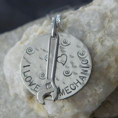 I Love My Mechanic Handstamped Necklace by WireNWhimsy on Etsy, $26.00