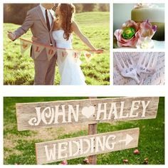 Country Weddings {Handmade Etsy Finds} #CupcakeDreamWedding I'm making hand-painted signs to direct people to the games, the food, and the band. We'll use a lot of ribbons for decor, as well.