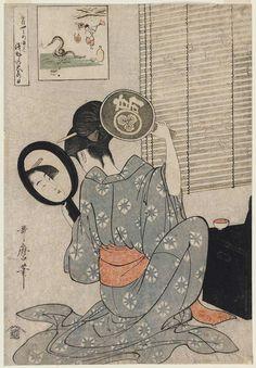 Kitagawa Utamaro (1753–1806) - Takashima Ohisa using two mirrors to observe her coiffure night of the Asakusa Marketing Festival
