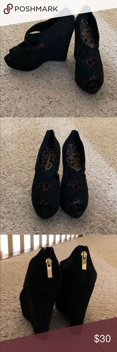 Jessica Simpson black wedges Jessica Simpson black wedges. Perfect for a night out! Jessica Simpson Shoes Wedges