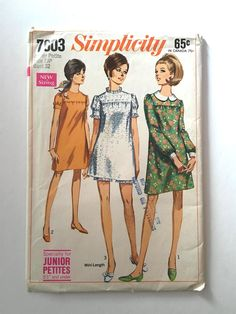 Vintage Sewing Pattern Women's 60's Partially Uncut, Simplicity 7603, Dress In Two Lengths, Shorts (XS) by Freshandswanky on Etsy