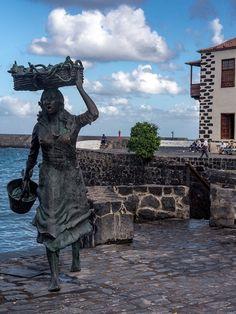 Fisher Girls Statue in Puerto de la Cruz in Tenerife in the Canary Islands Spain