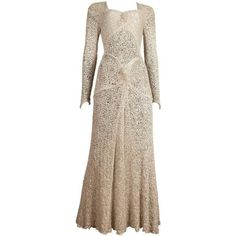 Preowned Ann Dawson Metallic Ivory Lame Lace Knit Evening Dress, Circa... ($4,807) ❤ liked on Polyvore featuring dresses, white, metallic dress, lacy white dress, white cocktail dresses, metallic cocktail dress and white knit dress