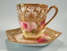 This gilded Nippon Chocolate Cop and Saucer is truly exquisite.