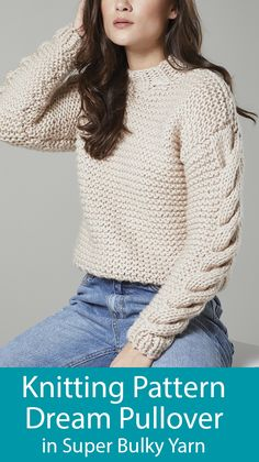 Knitting Pattern For Dream Sweater - Cropped Pullover Knit Flat - strickmuster für traumpullover - kurzer pullover strick flach - modèle de tricot pour pull de rêve - pull court en tricot plat Jumper Knitting Pattern, Jumper Patterns, Chunky Knitting Patterns, Cropped Pullover, Pull Court, Quick Knits, Cable Knit Sweaters, Garter Stitch, Easy Knitting Projects