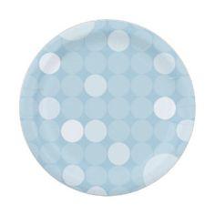 Blue Mod Polka Dot Baby Shower 7 Inch Paper Plate