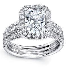 Radiant Cut & Round Brilliant 3.00 ctw VS2 Clarity, I Color Diamond Platinum Ring