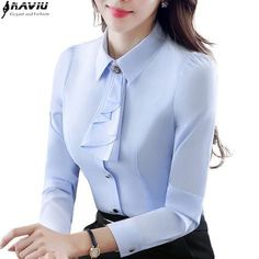 Cheap plus size tops, Buy Directly from China Suppliers:Elegant ladies long-sleeve blue shirt autumn white purple bow tie chiffon women blouse work wear formal office plus size top Fashion Pants, Hijab Fashion, Fashion Outfits, Classy Dress, Classy Outfits, Blouse Styles, Blouse Designs, Blouse Outfit, Blouses For Women