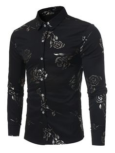 Floral Print Shirt Men 2017 Brand New Mens Dress Shirts Luxury Rose Flower Print Chemise Homme Long Sleeve Slim Fit Male Shirt Cheap Mens Shirts, Mens Shirts Online, Casual Shirts For Men, Men Casual, Men Shirts, Long Sleeve Fitted Dress, Long Sleeve Shirts, England Fashion, Style Casual