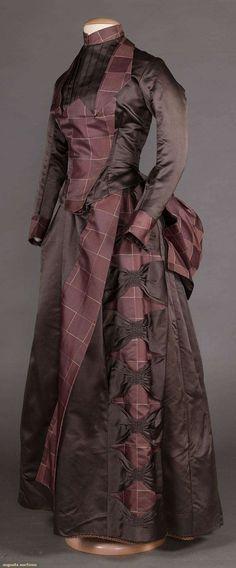 Шёлковое дневное платье (лиф и юбка) в крупную клетку, конец 1880-х гг.
