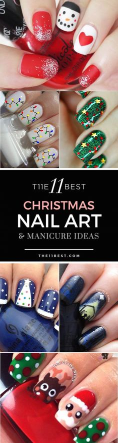 The 11 Best Christmas Nail Art Ideas - Christmas nails Christmas Nail Art Designs, Holiday Nail Art, Winter Nail Art, Winter Nails, Christmas Design, Xmas Nails, Diy Nails, Christmas Nails, Christmas Ideas