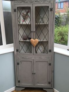 Shabby Chic Corner Unit With Glass Display Vintage Painted Annie Sloan in Home, Furniture & DIY, Furniture, Cabinets & Cupboards   eBay!